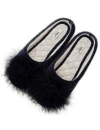 HALLUCI Women's Cozy Velvet Memory Foam House Slippers w/Non Slip Soles
