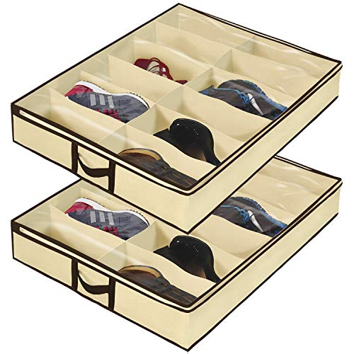 Ziz Home Under Bed Shoe Organizer for Kids and Adults