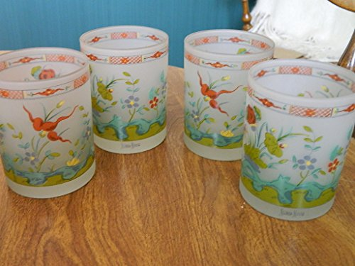 neiman-marcus-frosted-floral-drinking-glasses-tumblers-set-of-4