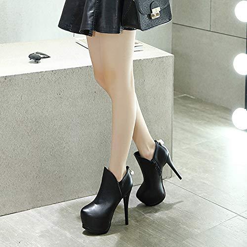 HBDLH Damenschuhe Bei Metall-Drill-Ball Mit 14 cm cm cm Hoch Sexy High-Heel Dünne Sohle Wasserdichte Tabelle Runden Kopf Kurze Stiefel. cd4761