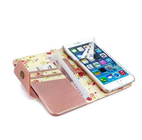 Alston Craig Echtleder Gedlbörse und Smartphonehülle in einem für iPhone 6s Plus im Vintage Blumen Look, mit magnetischer Halterung und RFID-Ausleseschutz für Ihre Karten - Rosa Gold