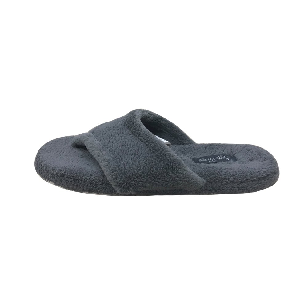 Thong Slippers for Women with Comfortable Plush Velvet Lining Flip Flop Slipper (L, Grey)