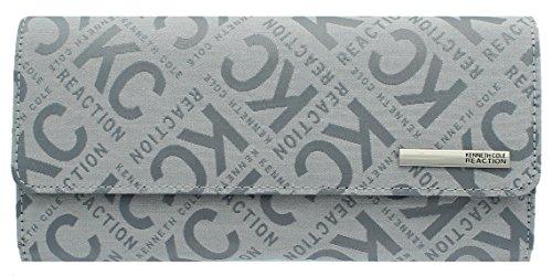 Kenneth Cole Reaction Womens Saffiano Clutch Wallet Trifold W Coin Purse (GREY BOX LOGO)