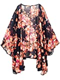 Moss Rose Women's Beach Cover up Swimsuit Kimono Cardigan with Bohemian Floral Print