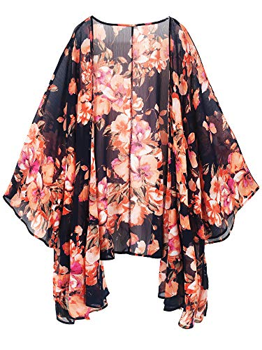 Figure Swimwear Flattering (Moss Rose Women's Beach Cover up Swimsuit Kimono Cardigan with Bohemian Floral Print)