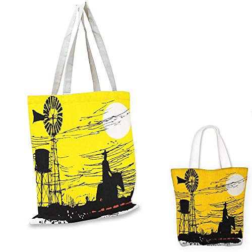 fashion shopping tote bag Windmill Australian Outback Inspired Artwork Cowboy on Horse at Sunset Earth Yellow Black and White canvas tote bag with zipper ()