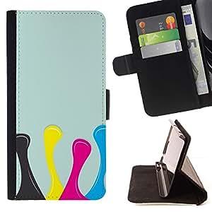 Momo Phone Case / Flip Funda de Cuero Case Cover - Dise?o Amarillo Rosa Azul - Samsung Galaxy A3