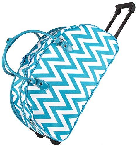 b7d8ea9df1c4 Ever Moda Chevron Rolling Duffle Bag (Teal Blue)