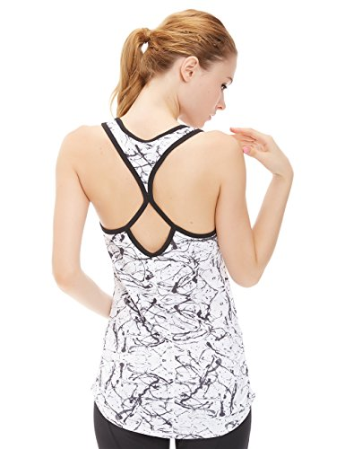 icyzone Woemen's Soft Racerback Workout Yoga Fitness Sports Tank Top (S, Chinese Ink) (Petite Vest Stretch)