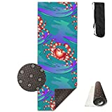SARA NELL Yoga Mat Marine-ornament With Crabs Design Printed Hot Yoga Mat With Carry Strap And Carry Bag Extra Large Non-Slip Exercise Mat 71''X 24''X 0.25''