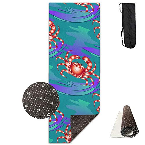 SARA NELL Yoga Mat Marine-ornament With Crabs Design Printed Hot Yoga Mat With Carry Strap And Carry Bag Extra Large Non-Slip Exercise Mat 71''X 24''X 0.25'' by SARA NELL