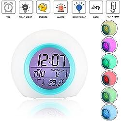 Alarm Clock for Kids,[Upgraded] SAGEME Wake Up Clock Night Light Digtal Alarm Clock Backlight Alarm Clocks for Bedrooms and Office Desk (White)