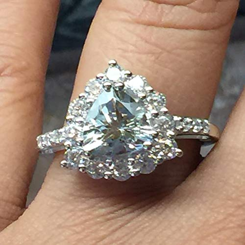 ct Aquamarine, Accent Stone 925 Solid Sterling Silver Trillion Ring/Promise Ring 8 ()