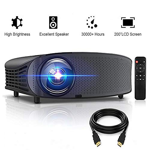 """Projector, GBTIGER 4000 Lumens Video Projector 200"""" LED LCD Home Theater Movie Projector Support 1080P, Compatible with Fire TV Stick PS4 HDMI USB VGA AV for Movie Party and Games With Free HDMI Cable"""