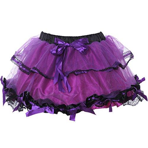 Sexy Bal Court Petticoat Pourpre Jupes Robe Femmes Mini De Lolita Jupe Multicouche Club Gothique Tulle v8N0wmnO