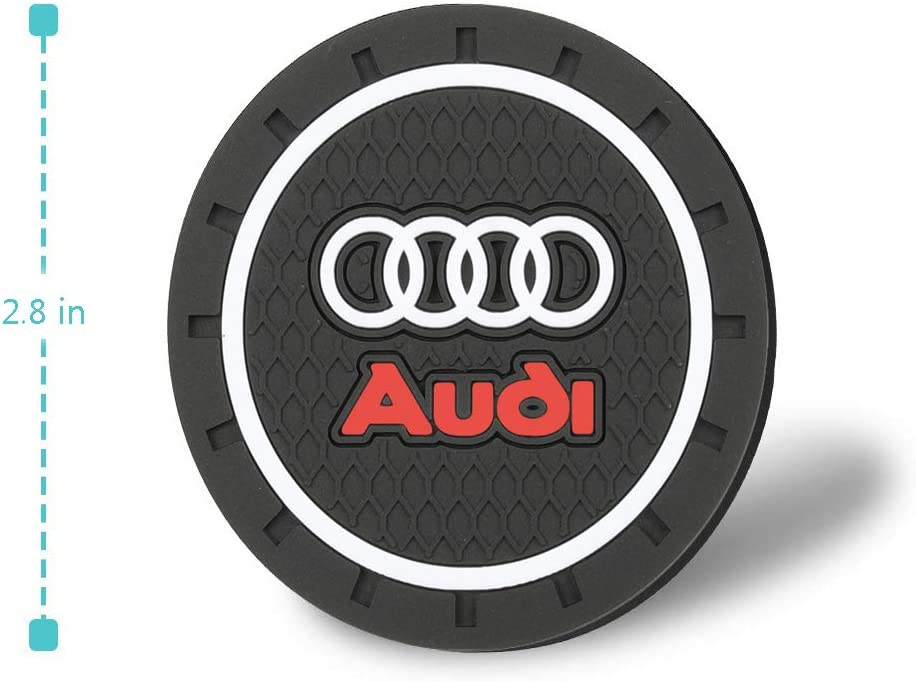 2PCS 2.8/'/' 72MM Silicone Car Logo Cup Holder Travel Auto Insert Coaster Can Audi