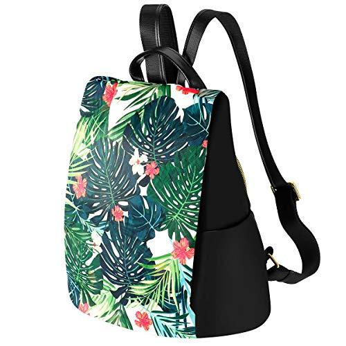 (Kamo Women Floral Backpack Waterproof Nylon Multi-pocket Schoolbags Anti-theft Daypack Girls Casual Travel Rucksack)