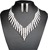 Santfe Crystal Rhinestone Collar Chocker Necklaces Earring Set for Wedding Party (style16)