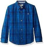 Calvin Klein Big Boys' Dusk Plaid Long Sleeve Shirt with Chest Logo, Dark Blue, Medium (10/12)