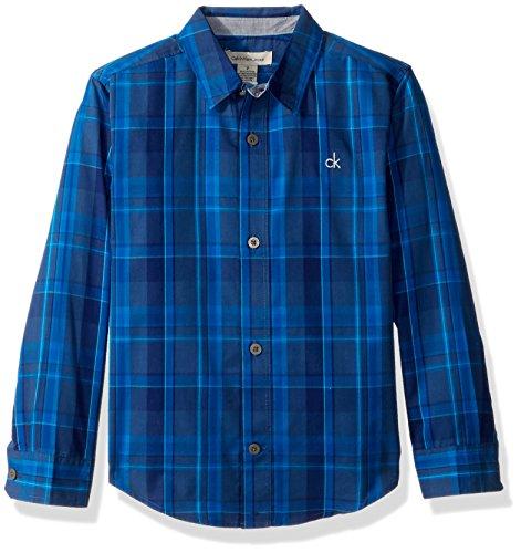 Calvin Klein Boys Dusk Plaid Long Sleeve Shirt Chest Logo