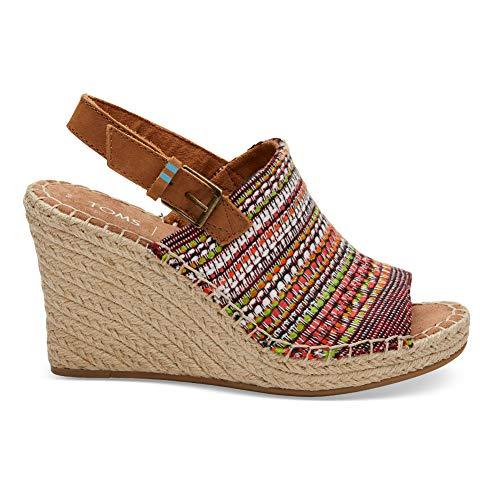 TOMS Women's Monica Wedge Sandals (9 B US, Cherry Tomato Global Woven)