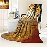 YOYI-HOME Digital Printing Duplex Printed Blanket Sunset on The Theme of Caribbean Sea Coastal Print Accessories Orange Yellow Blue Summer Quilt Comforter /W47 x H79