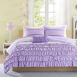 Mi-Zone Morgan Comforter Set Full/Queen Size - Purple, Polka Dot – 4 Piece Bed Sets – Ultra Soft Microfiber Teen Bedding For Girls Bedroom