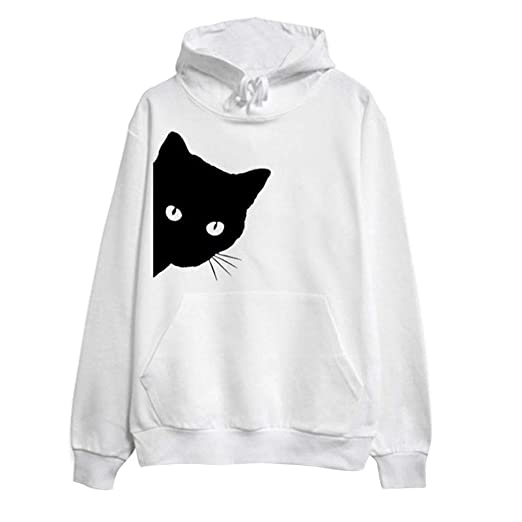 Amazon.com: Dainzuy Ladies Sexy Casual Sweatshirt, Long Sleeve Cat Print Hoodie Pullover Tops Blouse: Kitchen & Dining