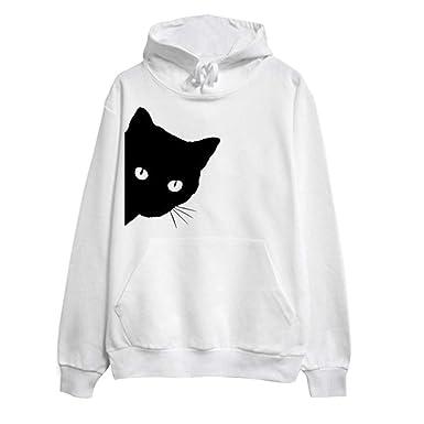 Overdose Camisa para Mujer De Manga Larga Caliente Cat Print Hoodie OtoñO con Capucha Pullover Tops Blusa Sudadera De Invierno: Amazon.es: Ropa y accesorios