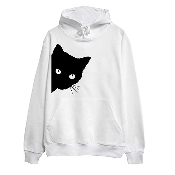 Mujer Sudadera, Estampado de Gato Sudaderas con Capucha Cortas para Mujer Camisetas Mujer Blusa Tops Sudadera Mujer: Amazon.es: Ropa y accesorios