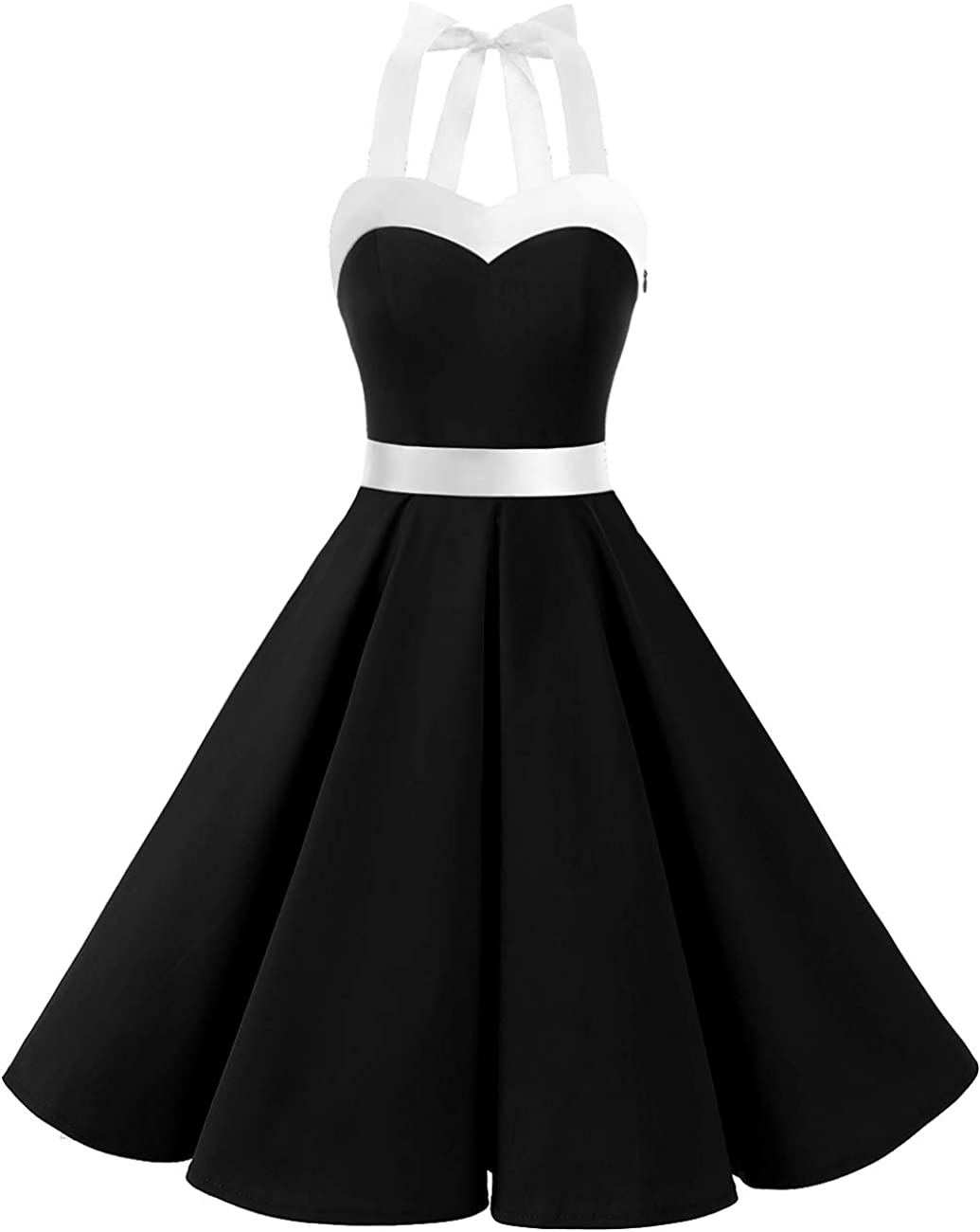 TALLA S. Dresstells® Halter 50s Rockabilly Polka Dots Audrey Dress Retro Cocktail Dress Black White S