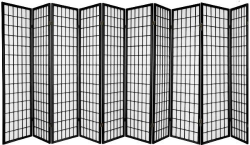 10 Panel Room Divider Square Design - Black/Cherry/Natural /White by SQUARE FURNITURE