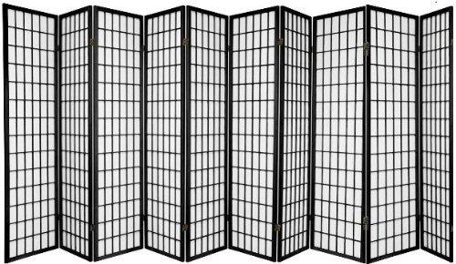 10 Panel Room Divider Square Design - Black/Cherry/Natural /White