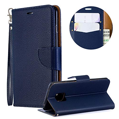 Price comparison product image Luxury PU Leather Wallet Case for Huawei Mate 20 Pro, Flip Folio Case for Huawei Mate 20 Pro, Moiky Blue Multifunctional Magnetic Kickstand Case Cover With Wrist Strap and ID&Credit Cards Slots