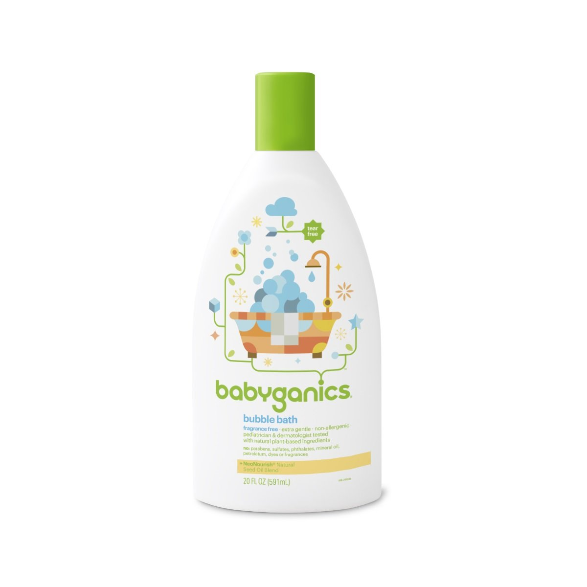Babyganics Baby Bubble Bath, Fragrance Free, 20oz Bottle, (Pack of 2)