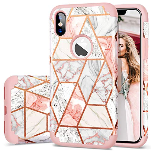 iPhone Xs Case, iPhone X Case, Fingic Rose Gold Marble Design Shiny Glitter Bumper Hybrid Hard PC Soft Rubber Silicone Cover Anti-Scratch Shockproof Protective Case for Apple iPhone Xs X 5.8 Inch 2018