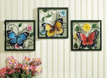 Trio Art Butterfly (Fluttering Butterfly Wall Art Trio)