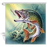 Bass Fishing Shower Curtain JAWO Fishing Decor Shower Curtain, Bass Fish with Fish Hook, Fabric Bathroom Curtain Set with Hooks, Waterproof 69x70 Inches