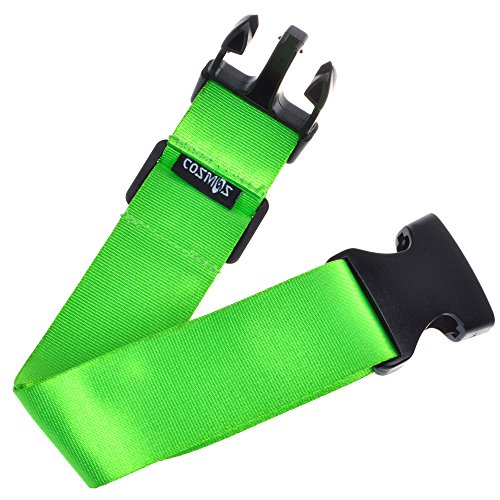 Cosmos Premium Nylon Add-A-Bag Travel Luggage Strap Belt with Quick Release Buckle - Fluorescent Green