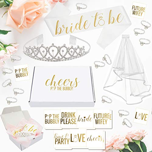 Bachelorette Party Decorations Kit // Bridal Shower Supplies with Cheers Gift Box: Tiara, Veil, Bride-To-Be Sash, Gold Bridal Tattoo Collection, Wearable Silver Engagement Rings! Cheers!