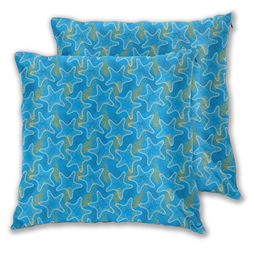 lsrIYzy Decorations Throw Pillow Cushion Cover Set of 2,Marine Underwater Life Theme Sea Stars Dotwork Style Aquatic Ocean,Square Accent Pillow Case 16x16 inches