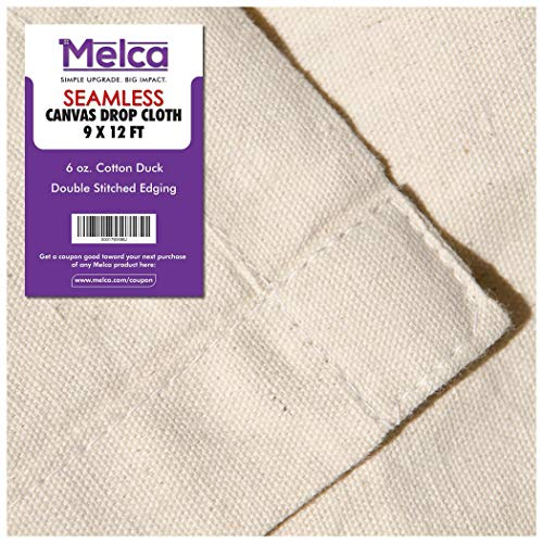 Drop Cloth Tarp Art Supplies - 9x12 Finished Size, 100% Cotton, Seams Only On The Edges, New Unmarked Fabric, Cotton Duck Fabric - Be Confident You Have The Canvas You Need. (Drop Bedding Cloth)