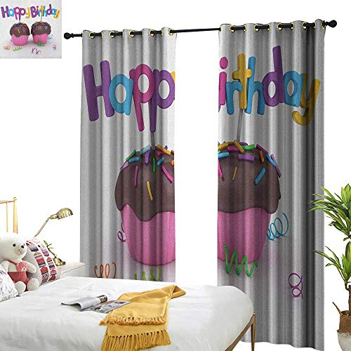 Birthday Customized Curtains 3D Illustration of Chocolate Covered Cupcakes with Greetings Attached Celebration W72 x L84,Suitable for Bedroom Living Room Study, etc. -