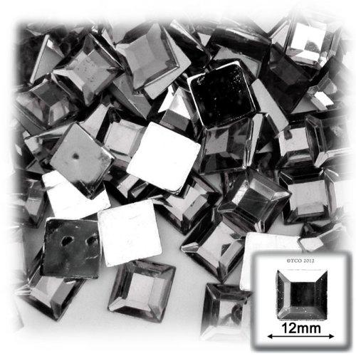 工芸のアウトレット144フラットバックスクエアラインストーン、12 mm、チャコールグレー   B0066AC2ZY