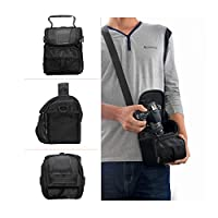 Waterproof Black Camera Case bag for Canon EOS Rebel T3 T3i T4i T5 T6 SL1 1100D,Nikon D3300 D3400 D5100 D5300 D5500 D7200 D610 B900,Sony,Pentax DSLR by FOSOTO