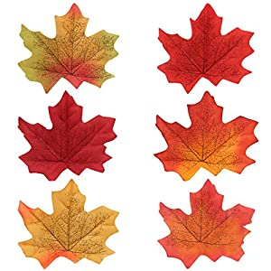 Naler Artificial Maple Leaves, Fall Colored Silk Maple Leaves Autumn Fall Leaves Bulk for Art Scrapbooking, Weddings, Autumn Party, Events and Decorating, 300pcs 2