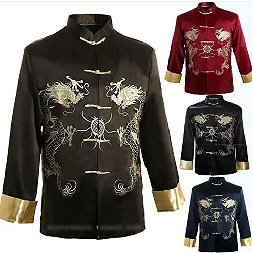THY COLLECTIBLES Traditional Chinese Embroidered Silk Satin Kung-Fu Tang Jacket Coat Tai Chi Uniform Double Dragon