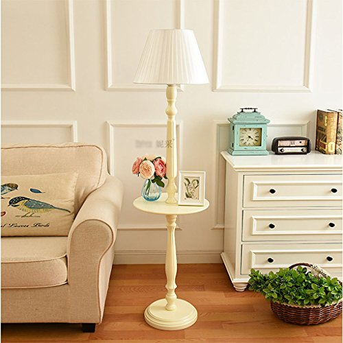 Lamp Wood Tray Floor - Floor Lamp Solid Wood Coffee Table Continental American Modern Minimalist Vintage Ivory White Desk Lamp with Tray Storage Vertical Lamp (Color : White)