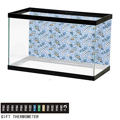 - wwwhsl Aquarium Background,Modern,Traditional Romantic Contemporary Leaves Background Tribal Ethnic Image,Pale Blue White Amber Fish Tank Backdrop 30