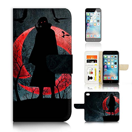 ( For iPhone 6 6S 4.7') Flip Wallet Case Cover and Screen Protector Bundle A20091 Naruto Itachi